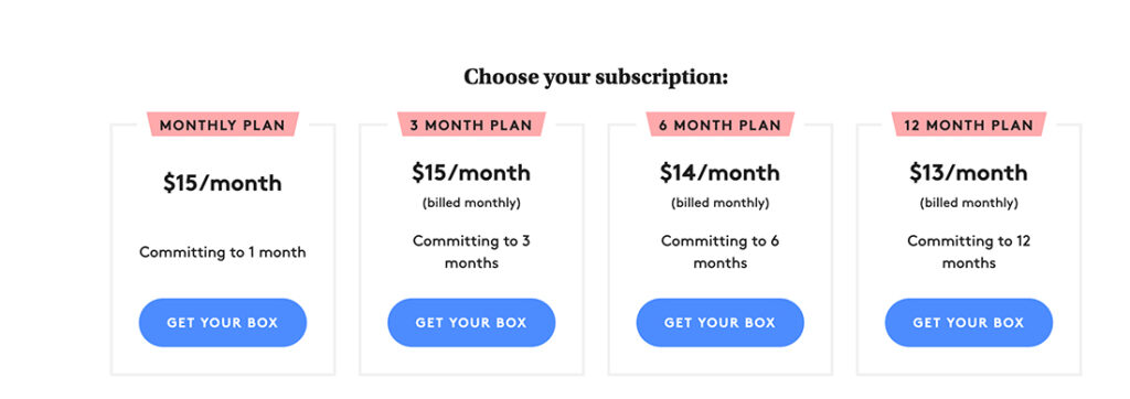 subscription business pricing plans