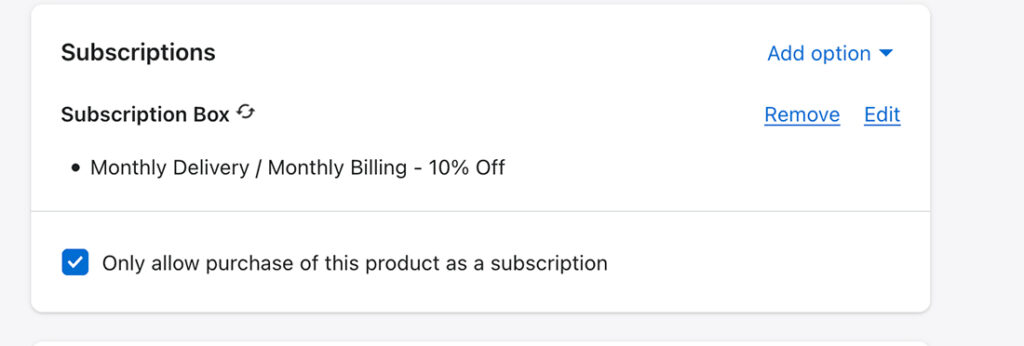 remove one time purchase option subscription shopify