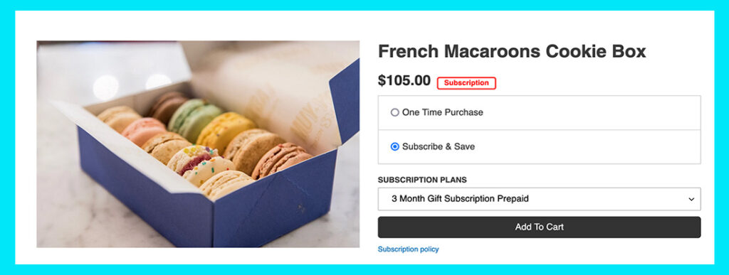 3 month shopify gift subscriptions prepaid example